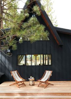 black a-frame home w