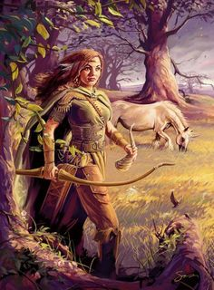 "Mielikki- Finnish myth: goddess of the forest. ""She is the wife to the forest god, Tapio. She protects cattle and blesses the hunting of small game. She heals animals who were stuck in traps, and helps chicks who have fallen from their nests. She..."