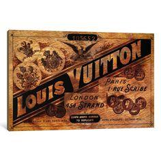 "iCanvasART 1 Piece Vintage Louis Vuitton Advertisement Canvas Print by Ginger, 26"" x 18""/0.75"" Deep"