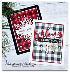 More Buffalo Check Christmas Cards from stampin with Sandi.com #christmascards #diy #stamping #handmade #stampinup #stampinwithsandi Simple Christmas Cards, Stamped Christmas Cards, Christmas Paper Crafts, Christmas Cards To Make, Stampin Up Christmas, Plaid Christmas, Xmas Cards, Holiday Cards, Christmas Time