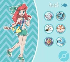 Disney characters as Pokémon Trainers! Art by Pavlover (Ariel)