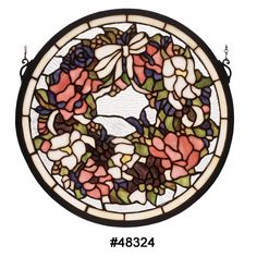 Meyda Tiffany 15WX15Revival Wreath & Garland Medallion Stained Glass Window
