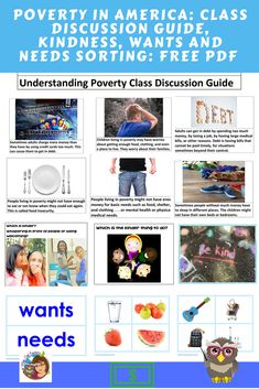 Understanding Poverty Class Discussion Guide Freebie -- and wants and needs sorting, guided questions about kindness, printable PDF. Cult Of Pedagogy, Lost Job, Social Emotional Learning, Math Skills, Early Childhood, Sorting, Literacy, Printable, Pdf
