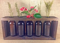 Rustic Bottle Vase Centerpiece | Perfect for long dining tables! Bottle Centerpieces, Vases, Bottle Vase, Recycled Furniture, Decor Crafts, Home Decor, Custom Wood, Craft Beer, Recycling