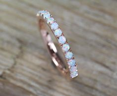 Opal Eternity Band Rose Gold Opal Ring Eternity Wedding #opalring #engagemnetring
