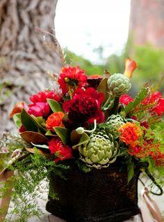bouquets, calla lily, dahlia, dark green, magenta, orange, ranun, red, rose, yellow, rustic, Washington County, Utah