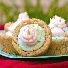 """Confetti Cups (chewy """"confetti"""" cookie cups filled to overflow with a tart blue raspberry lemonade cream)."""