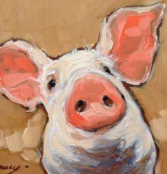 Cochon peinture portrait, 5 x 5 sweet little peinture de cochon. Originale huile sur panneau. Petit chevalet en bois inclus ! Darchivage Ampersand