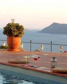 Effortless Greece ... During your down time, enjoy the views from the pool at Esperas Hotel. #Jetsetter #JSVolcano