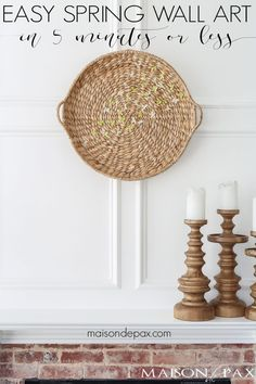 Looking for an easy spring decor idea? In about five minutes, you can turn a simple basket and inexpensive faux flowers into gorgeous spring wall art! Inexpensive Home Decor, Cute Home Decor, Cheap Home Decor, Creative Wall Decor, Diy Wall Decor, Simple Wall Art, Cactus Wall Art, Digital Print, Faux Flowers