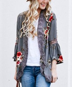 Charcoal Floral Crochet-Accent Kimono by So Perla (via Zulily)
