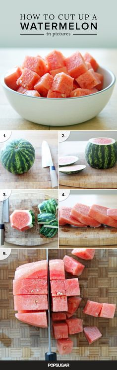 It's tempting to purchase watermelon already peeled and cubed, but we'd urge you not to. Not only is precubed watermelon more expensive, but it's also prone to having a mealy, mushy texture. Instead, follow these simple step-by-step instructions and do it yourself.