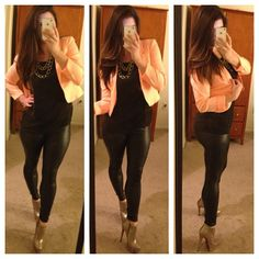 Leather leggings booties bright blazer