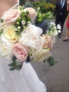 Beautiful wedding bouquet of Rose's, thistles, peonies, Wedding Bouquets, Wedding Flowers, Thistle Wedding, Thistles, Rose Bouquet, Table Centerpieces, Peonies, Wedding Planner, Floral Wreath