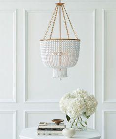 Foyer wainscoting | Beaded chandelier
