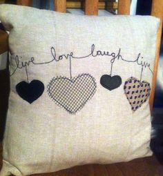 Ricamati applique cuscini - l'amore, la casa è dove il cuore è, San Valentino