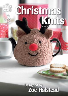 Knitted Rudolph tea cosy- One of the many fabulous knits in Christmas knits book 2 Christmas knitting