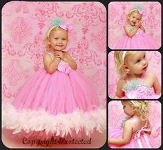 Cotton Candy Couture Little Girls Feather Tutu Dress-