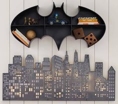 Pottery Barn Kids offers kids & baby furniture, bedding and toys designed to delight and inspire. Create or shop a baby registry to find the perfect present. Batman Bedroom, Batman Room Decor, Batman Baby Room, Batman Kids Rooms, Kids Room Lighting, Lighting Ideas, Lighting Design, Deco Kids, Deco Originale