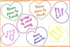 Coeurs : un Bisou pour chaque jour de la semaine... à décorer ou à colorier