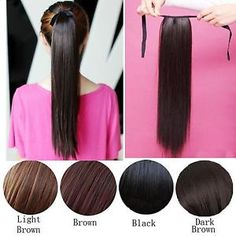 Fashion-Women-Clip-In-Ribbon-Ponytail-Pony-Tail-Hair-Wrap-On-Hair-Piece-Wig-24