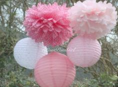 Pretty in Lace - 3 Tissue Paper Poms/3 Decorated Paper Lanterns by 1PomPomGirl shop on ETSY