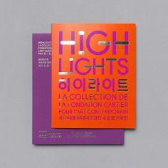 Studio Fnt creates a bright typographic identity for Seoul-based art exhibition Identity Design, Brochure Design, Visual Identity, Book Cover Design, Book Design, Fondation Cartier, Orange Book, Print Design, Graphic Design