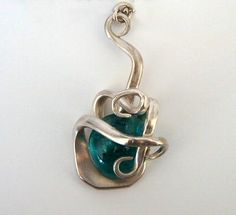 Jewelry Made From Spoons | Spoon Jewelry Fork Pendant Necklace Teal Glass by LTCreatesJewelry
