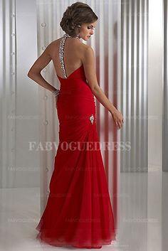 fddf3f57da0   Trumpet Mermaid Halter Floor-Length Chiffon Evening Dress With Ruffle  Beading Sequins