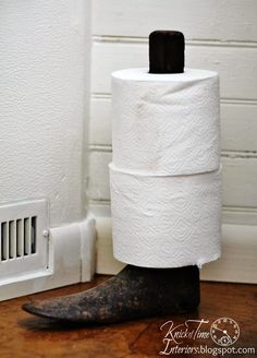 If the Shoe Fits...put toilet paper on it!  Repurposed Vintage Ideas at KnickofTime.net