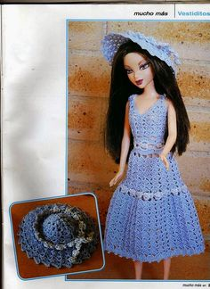 Romantic Crochet Hat and Dress for Barbie, this is a Spanish pattern but the graphics (diagrams) are helpful for other language speakers to help them make this cute set. More Patterns Like This!