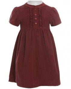Cord-Kleid mit Taschen in weinrot