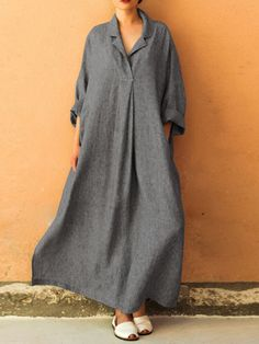 Plus Size Casual V-neck Long Sleeve Solid Color Pockets Loose Maxi Dress For Women - Banggood Mobile Plus Size Shirt Dress, Maxi Dress With Sleeves, Maxi Shirt Dress, Vintage Style Dresses, Casual Dresses, Maxi Dresses, Casual Clothes, Vintage Dress, Dress Outfits