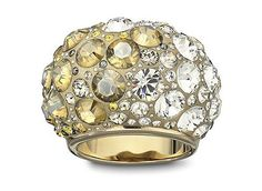 Swarovski Ring Chic Taupe Large Jewelry Gold-plated ring with multiple clear, grey and yellow coloured crystals set in Ceralun(TM).