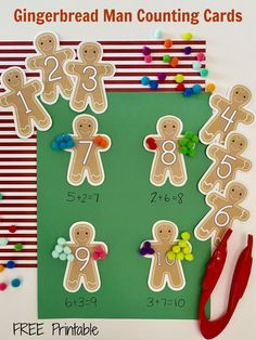Gingerbread Man Counting Cards are great for counting and number identification. Use these gingerbread man counting cards for addition or subtraction too. This free printable can also be used for number sequencing. #gingerbreadman #gingerbread #kids #counting #freeprintable #countingcards