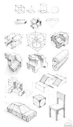 By Jean Néhány perspektíva gyakorolja, előszö. Doodle Drawing, Basic Drawing, Technical Drawing, Perspective Drawing Lessons, Perspective Art, Graphisches Design, Sketch Design, Design Ideas, 3d Drawings