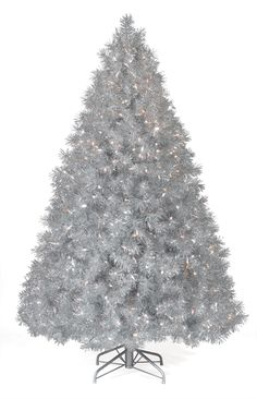 Christmas Tree Market™ Silver Tinsel Artificial Christmas Tree, Feet, Clear Lights Create instant holiday cheer with our Silver Tinsel Artificial Silver Tinsel Tree, Pre Lit Christmas Tree, Silver Christmas Tree, Gold Christmas Decorations, Beautiful Christmas Trees, Colorful Christmas Tree, White Christmas, Christmas Ideas, Trees Beautiful