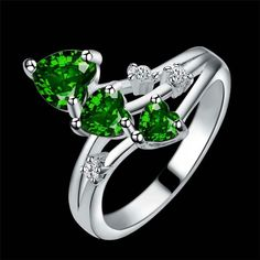Silver Plated Green Heart Cubic Zirconia Ring Various Sizes | eBay
