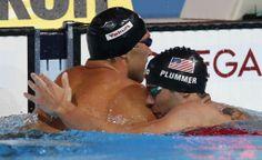 David Plummer Swimming | Matt Grevers, gold, and David Plummer, silver, embrace after the men's ...