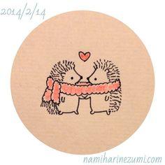 バレンタイン #ハリネズミ 58    Happy Valentine's Day  #hedgehog #drawing #illustration #イラスト