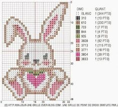 Cute Rabbit with Heart Cross Stitch For Kids, Cute Cross Stitch, Cross Stitch Heart, Cross Stitch Animals, Cross Stitch Designs, Cross Stitch Patterns, Cross Stitching, Cross Stitch Embroidery, Hand Embroidery