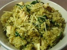 1 cup quinoa,  2 chicken breasts, 3 big handfuls of fresh spinach (about 3 cups)   6 tablespoons pesto, 1/2 cup Parmesan cheese