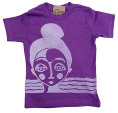 Topknot Girl kids organic tee in dazzling purple  *love