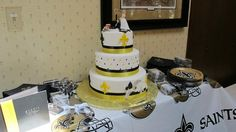 Thanks to Laura Quarles for sending us a picture of this wedding cake! #Saints #NOLA #Cake #WeddingCake