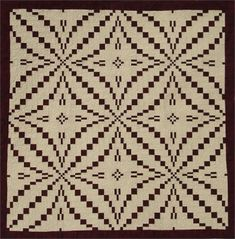 The King's Puzzle quilt pattern was inspired by a woven coverlet made in Virginia in the mid The orientation of the block and sashing create an optical illusion effect.Finished Size: x Old Quilts, Antique Quilts, Barn Quilts, Patch Quilt, Quilt Blocks, Optical Illusion Quilts, Optical Illusions, Puzzle Quilt, Two Color Quilts