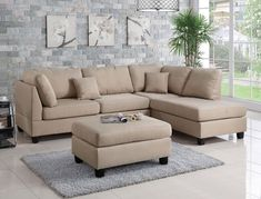 Beige Sectional, Small Sectional Sofa, Ottoman Sofa, Living Room Sectional, Chaise Sofa, Fabric Sectional, Couches, Small Couch With Chaise, Corner Couch