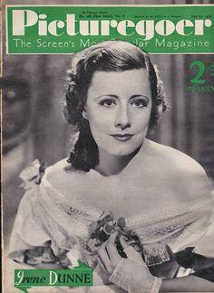 "Irenne Dunne on the cover of ""Picturegoer"" magazine, United Kingdom, June 1936."