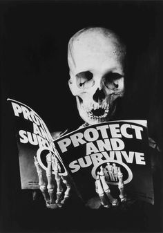 photomontage image of skeleton reading protect & survive pamphlet