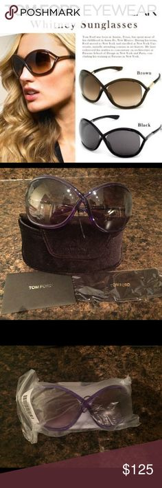 TOM FORD WHITNEY SUNGLASSES (NWT) GORGEOUS TOM FORD WHITNEY SUNGLASSES IN PURPLE NEVER WORN, RECEIVED AS A GIFT & STILL IN ORIGINAL PACKAGING. INCL: SUNGLASSES, CASE, CLOTH & AUTHENTICITY CARD! PERFECT FOR SUMMER NO TRADESFeatures.... Composite Imported Acetate frame Lens width: 64 mm Bridge: 14 mm Arm: 110 mm Frame Material: Plastic Lens Material: Plastic Lens width: 64mm Bridge: 14mm Arm: 110mm Tom Ford Accessories Sunglasses