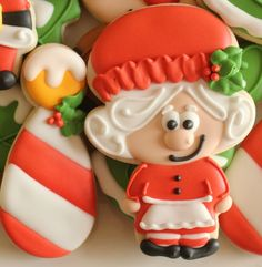 Mrs Santa and North Pole decorated Christmas cookies by Sweet Sugarbelle